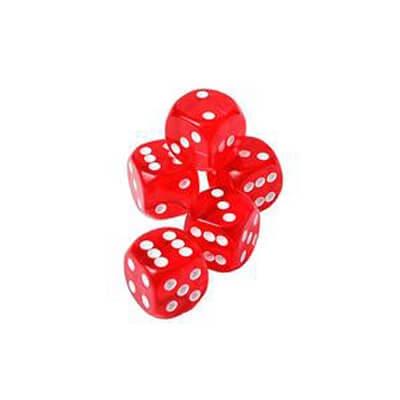 Image of   5 stk. røde Casino Terninger