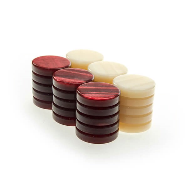 Image of   Backgammonbrikker Akryl Perlemor Rød/Hvid 36 mm