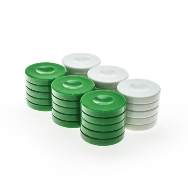 Image of   Backgammonbrikker Plastik Grøn/Hvid 36 mm