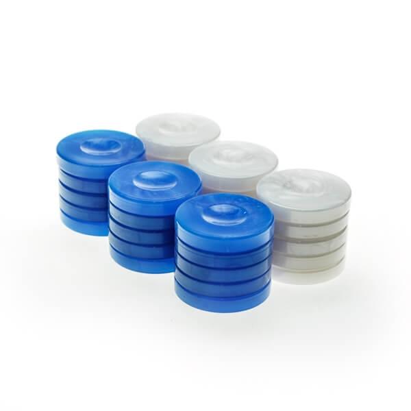 Image of   Backgammonbrikker Plastik (Perlemorslook) Blå/Hvid 36 mm