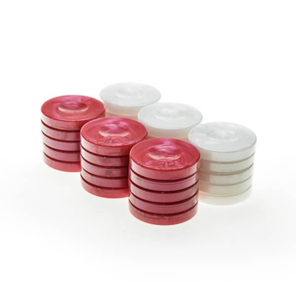 Image of   Backgammonbrikker Plastik (Perlemorslook) Rød/Hvid 36 mm