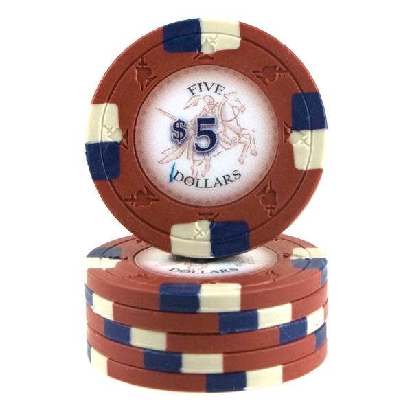 Poker Knights 13,5 gram $5 Mørkerød